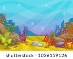 cartoon underwater background.... | Shutterstock .eps vector #1036159126