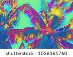 rainbow palm leaf on sky... | Shutterstock . vector #1036161760