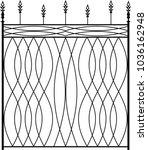 wrought iron gate  ornamental... | Shutterstock .eps vector #1036162948