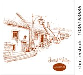 scottish village  hand drawn...   Shutterstock .eps vector #1036163686