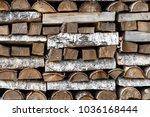 firewood for the winter  stacks ... | Shutterstock . vector #1036168444