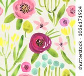 seamless watercolor floral... | Shutterstock . vector #1036171924