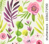 seamless watercolor floral...   Shutterstock . vector #1036171930