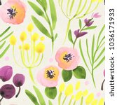 seamless watercolor floral...   Shutterstock . vector #1036171933