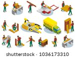set of isometric icons... | Shutterstock .eps vector #1036173310