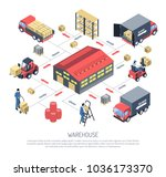 warehouse isometric composition ... | Shutterstock .eps vector #1036173370