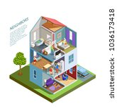 house with neighbors including... | Shutterstock .eps vector #1036173418