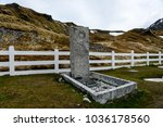 Small photo of South Georgia, Grytviken Cemetery - 27 November 2015: Ernest Shackleton's grave. Sir Ernest Henry Shackleton was a polar explorer who led three British expeditions to the Antarctic.