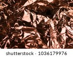 copper shiny crinkled crumpled... | Shutterstock . vector #1036179976