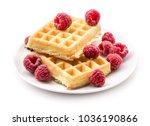 traditional waffle  belgian ... | Shutterstock . vector #1036190866