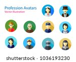 set of professions avatars icon ... | Shutterstock .eps vector #1036193230