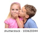 Little Boy Kissing Girl White...