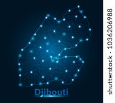 abstract map of djibouti with... | Shutterstock .eps vector #1036206988