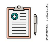 medical report color icon.... | Shutterstock .eps vector #1036216153