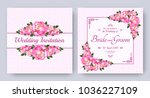 wedding invitation with flowers ... | Shutterstock .eps vector #1036227109