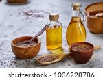 flax seeds in bowl and flaxseed ... | Shutterstock . vector #1036228786