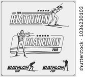 set of biathlon emblems. winter ... | Shutterstock .eps vector #1036230103