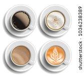 coffee cups set vector. top... | Shutterstock .eps vector #1036238389