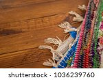 colorful rug on wooden... | Shutterstock . vector #1036239760