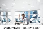 young man writer in hat and... | Shutterstock . vector #1036241530