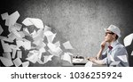 young man writer in hat and...   Shutterstock . vector #1036255924
