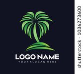 resort logo with beach and... | Shutterstock .eps vector #1036273600