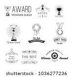 set of vector winner logos ... | Shutterstock .eps vector #1036277236