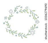 sketchy spring wreath | Shutterstock .eps vector #1036279690