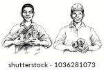 couple of men picking... | Shutterstock .eps vector #1036281073
