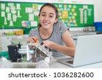 portrait of female pupil... | Shutterstock . vector #1036282600