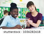 portrait of female pupil and... | Shutterstock . vector #1036282618