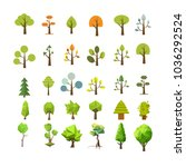 tree icon set. trees silhouette ... | Shutterstock .eps vector #1036292524