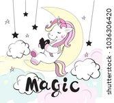 a beautiful unicorn lies on the ... | Shutterstock .eps vector #1036306420
