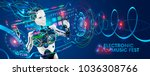 robot disc jockey at virtual... | Shutterstock .eps vector #1036308766