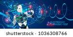 robot disc jockey at virtual...   Shutterstock .eps vector #1036308766