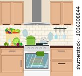 stove in the kitchen with... | Shutterstock .eps vector #1036308844