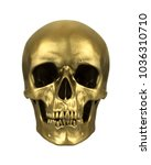 Gold Human Skull  Isolated On...