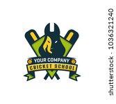 cricket creative logo mascot... | Shutterstock .eps vector #1036321240