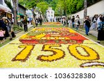 Small photo of KOBE, JAPAN -MAY 3, 2017:Infiorata is a festival of flower carpets every year Kobe City holds an event where they close off roads and make big flower pictures arranged between late April and early May