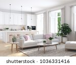 Stock photo  d rendering modern living room in townhouse 1036331416