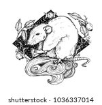 the little mouse with cheese... | Shutterstock . vector #1036337014