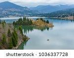 Small photo of Colibita Lake, house in the middle of the lake, Bistrita Nasaud county, Transylvania, Romania