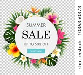 summer sale tropical banner | Shutterstock . vector #1036350373