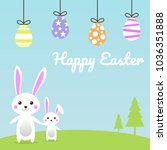 happy easter egg and cute bunny ... | Shutterstock .eps vector #1036351888