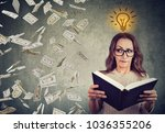 woman student reading a book... | Shutterstock . vector #1036355206