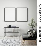 mock up poster frame in hipster ... | Shutterstock . vector #1036358140
