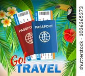 passport with airline tickets... | Shutterstock .eps vector #1036365373