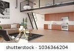 modern kitchen loft interior....   Shutterstock . vector #1036366204