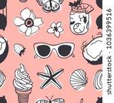 hand drawn summer seamless... | Shutterstock .eps vector #1036399516
