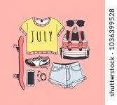 hand drawn summer pattern.... | Shutterstock .eps vector #1036399528